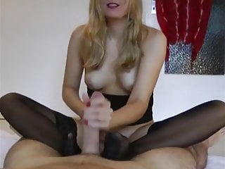 German gives black stocking footjob...