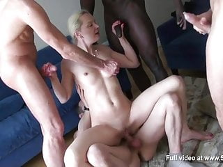 French Blonde lady Alicia takes anal during a gangbang