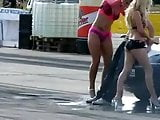 Carwash babes grinding a guy