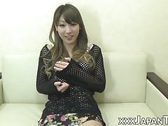 Skinny Japanese plays with her tits while rubbing wet cunt
