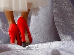 ASMR Female legs in red high-heeled shoes