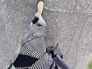 PoV walking in a long satin skirt