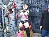 Blonde with huge tits gets roped and teased