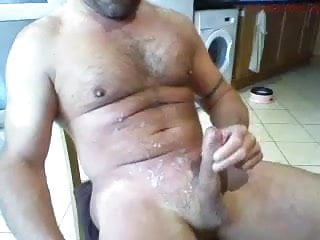 Daddy spurts cum all over his chest...