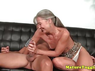 Smalltit gilf jerking cock on couch...