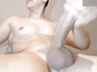 Stroking big balls close up...