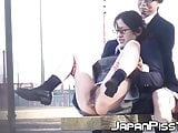 Japanese chicks in school uniform pee on the bench outside