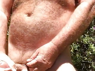 Hairy Chested Dad Wanking Outdoors