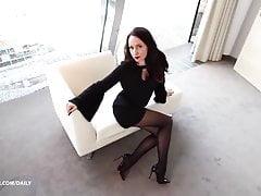 long legs  black tights pantyhose  mini dress Porn Videos