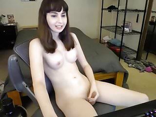 Sue plays with her penis and sperms it-long version