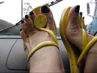 Feet on the dashboard