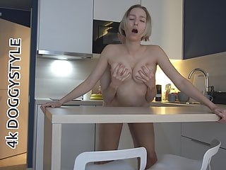 NUDE LADY WITH LONG LEGS ENJOYS STANDING DOGGYSTYLE