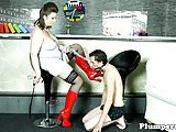 Fat stockinged femdom facesitting on her sub