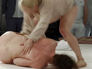 Frauke Marien gets her pussy and tits stripped and roughed up