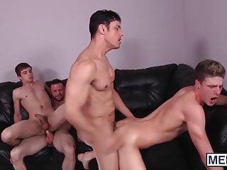 Four adorable handsome dudes having wild hotel...