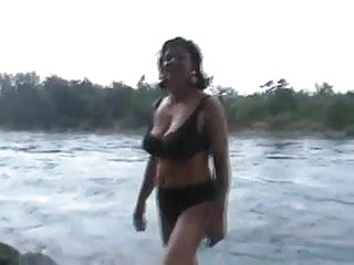 Amateur curvy mature strip bikini...