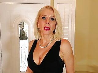 Nonnude Sexy Blonde Busty Mature MILF Black dress high heels