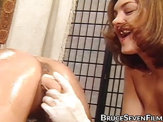 Pretty lesbian dildo fucked in the ass by...