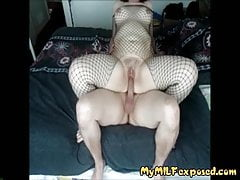 My MILF Chubby MILF in fishnet bodystockings riding cock