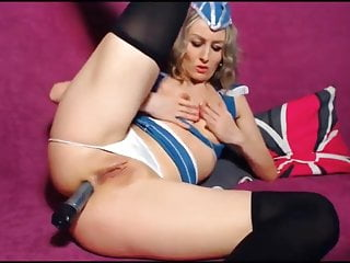Slut fucks in pilot costume...