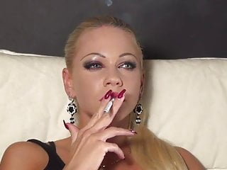 Stunning blonde smoking