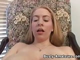 Busty amateur Calis playing huge dildo