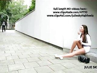 Whore flashing in miniskirt street platform heels...
