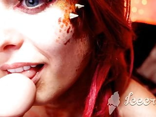 Redshead Stunning and Halloween teasing and sexy SUcking