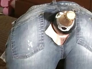 In jeans...