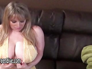 Busty Maggie Plays With Hitachi in Sexy Yellow Nightie!