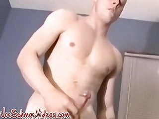 Gay amateur wanking alone before busting a nut...