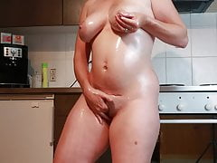 Lactating Milf Milky Boobs Masturbation In The Kitchen
