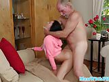 Busty teen roughly pounded by grandpa cock