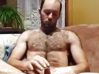 hairy daddy pumps out a load