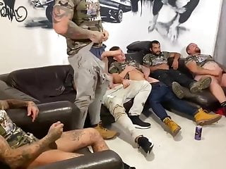 100% Paid straight British guys wank party
