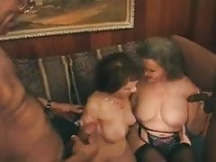 Two hairy grannies fuck young men