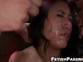 Busty asian mia li throat fucking in bondage...