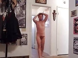 Boner walking naked at home...
