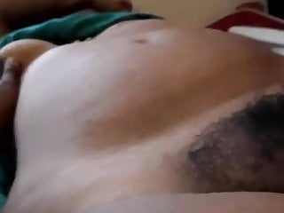 My lover displays her boob and hairy muff