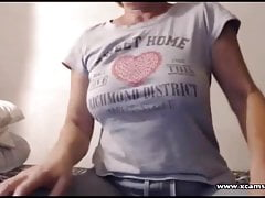 Horny grany teasing on webcam
