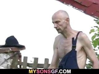 Old man helps his son's GF cum