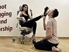 Heels Sucking and Foot Gagging Female Domination