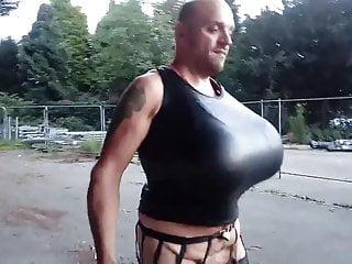 Extreme big boobs transgender outdoor tits fetish...