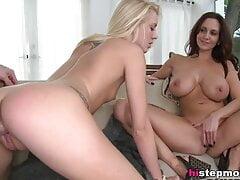 Huge titted stepmom enjoys threesome