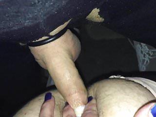 Cum filled piss condom broke in sissy ass...