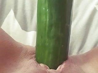 wife fucks cucumber Porn Videos
