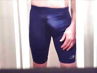 Bulging and pissing my spandex running shorts...