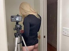 Hot Blond Crossdresser Puts Tampon In Ass