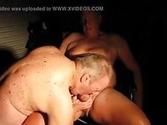 Old guy sucks his straight neighbor in his garage