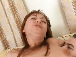 Redhead sucks cock and then let this man fuck her hairy twat